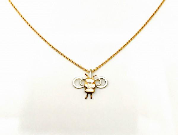 """Anhänger """"Biene"""" in Gold und Silber an Goldkette"""