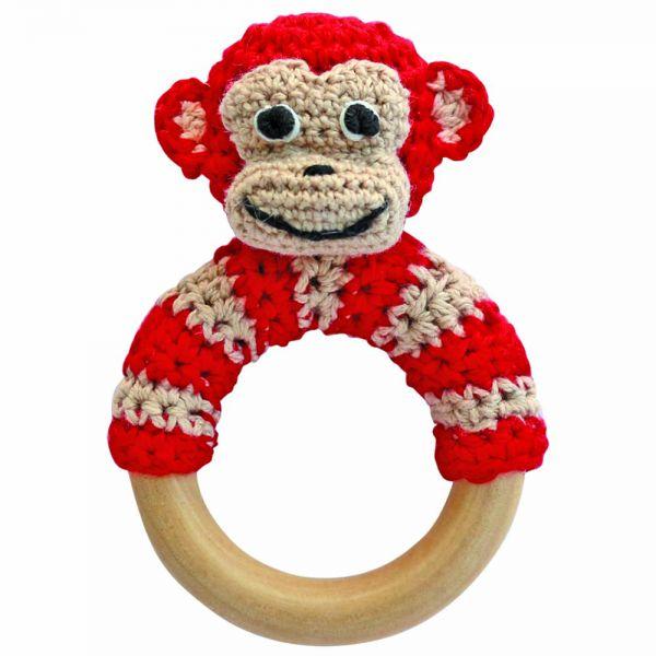 Rassel Affe rot am Greifring aus Holz