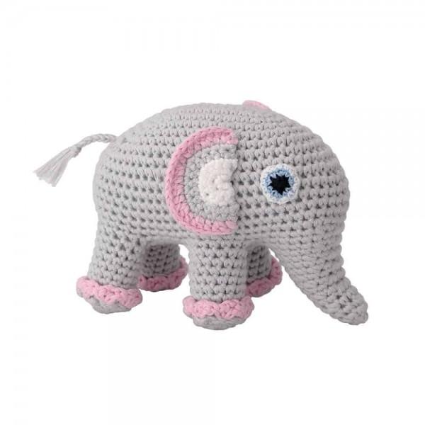 Sindibaba Stofftier mit Rassel Elefant gehäkelt grau rosa
