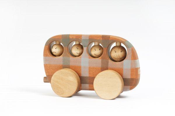 Karierter Bus Bio aus Holz von Friendly Toys