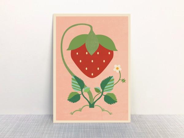 """""""Erdbeere"""" Postkarte aus Recyclingpapier mit Ökofarbe von Monimari"""