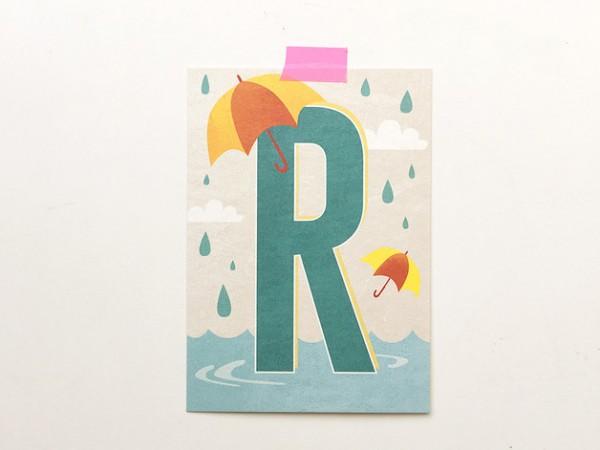 Postkarte Buchstabe R von Monimari