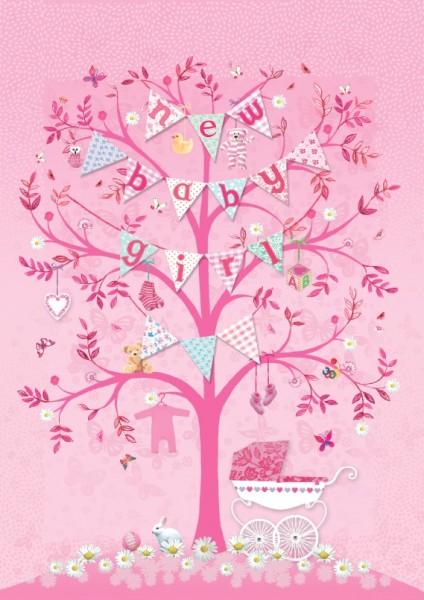"Postkarte ""new babygirl"" rosa"