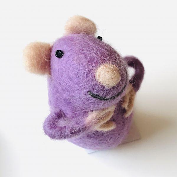 Filztier Maus lila für Geld oder Gutscheine