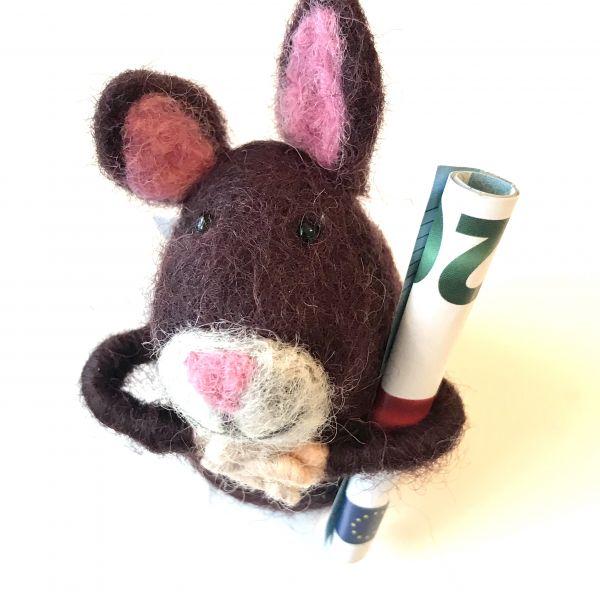 Filztier Hase für Geld oder Gutscheine