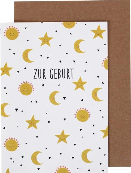 """Klappkarte """"Zur Geburt"""" Sonne Mond und Sterne"""