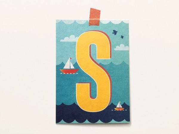 Postkarte Buchstabe S von Monimari