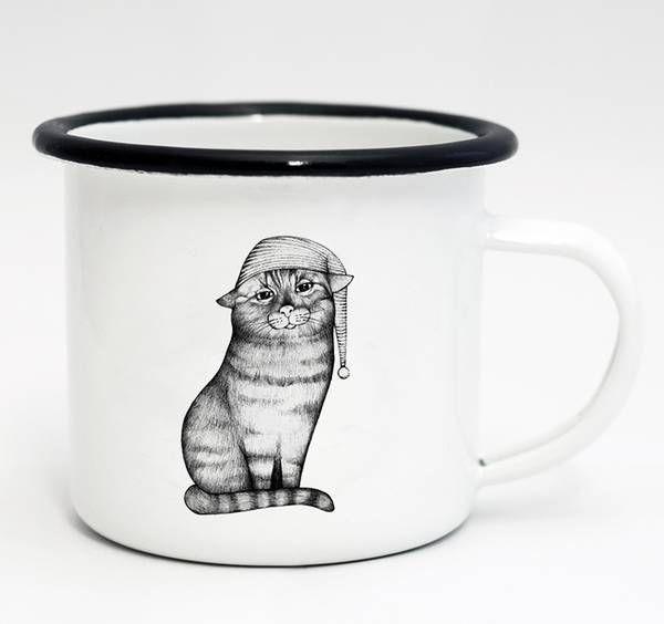 Tasse Emaille Gute Nacht Katze 500ml von Ligarti