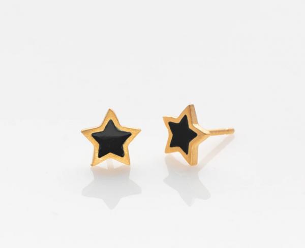 Stern Ohrringe golden/ schwarz von Prigipo