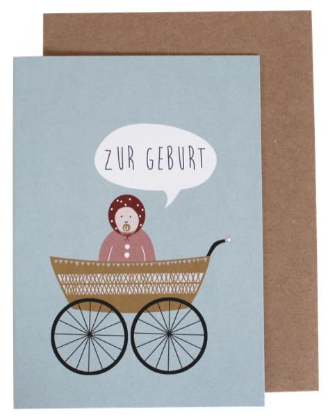 """Klappkarte """"Zur Geburt"""" Retro Kinderwagen"""