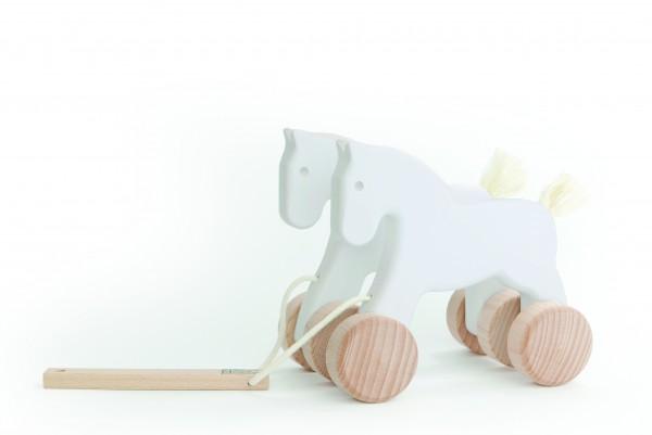 """Weiße Pferde """"Doppelgespann"""" zum Ziehen"""