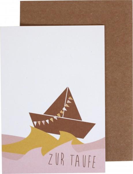 """Klappkarte Boot """"Zur Taufe"""" rosa von Ava & Yves"""