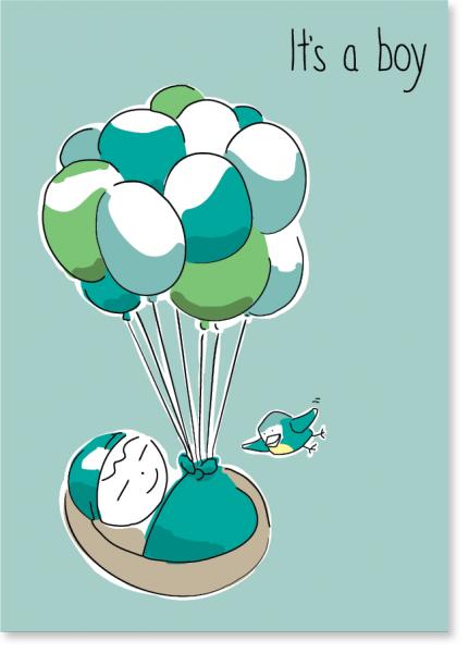 """Postkarte It´s a boy """"Luftballons"""" von MsSlow"""