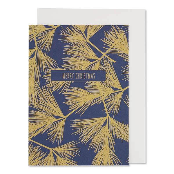 """Klappkarte """"Tannenzweige"""" blau-gold Merry Christmas von ava & yves"""