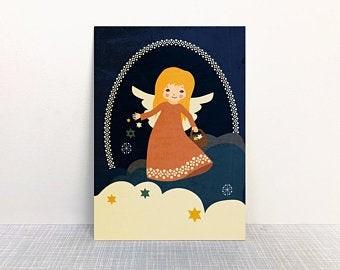 Weihnachtskarte Engel von Monimari