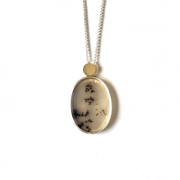 Kette mit ovalem Moosachat in Gold und Silber von Goldkind