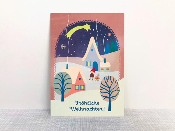 Weihnachtskarte Dorf von Monimari