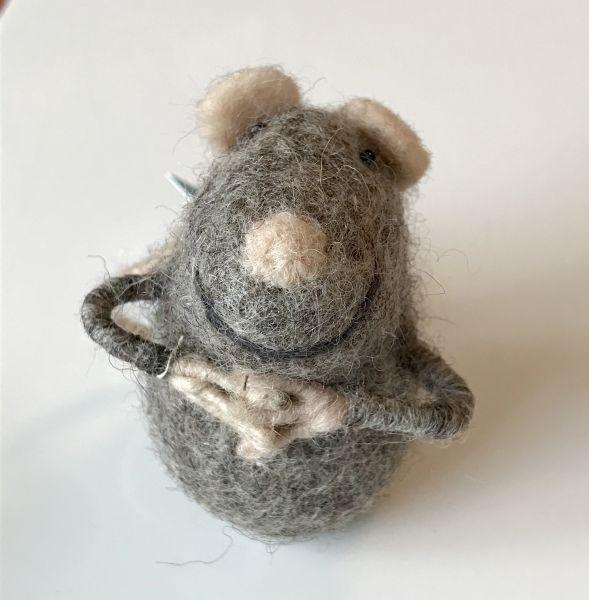 Filztier Maus grau für Geld oder Gutscheine