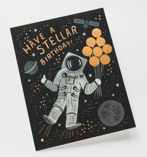 """Klappkarte """"Have a stellar birthday!"""" Astronaut von RIFLE PAPER Co."""
