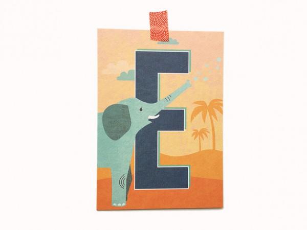 Postkarte Buchstabe E