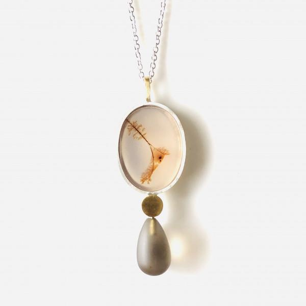 Kette mit ovalem Moosachat und Rauchquarz in Gold und Silber von Goldkind