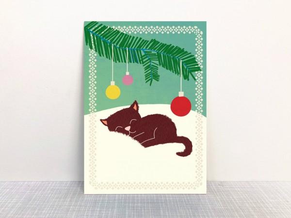 Weihnachtskarte Katze von Monimari