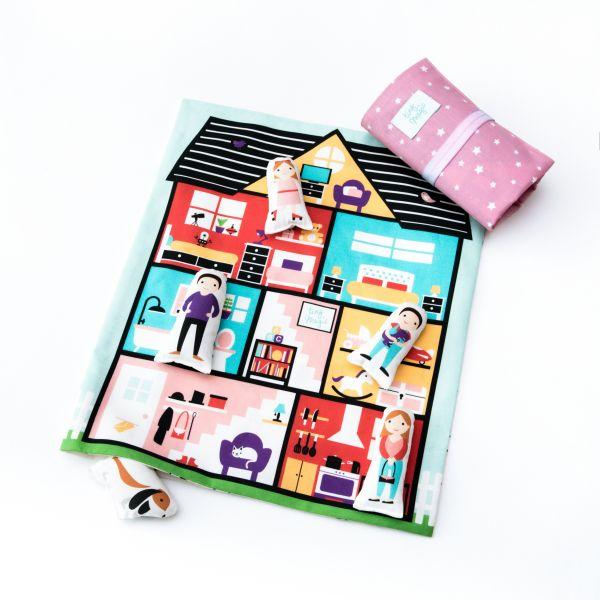 Puppenhaus pink mit Sternen für unterwegs von tiny magic