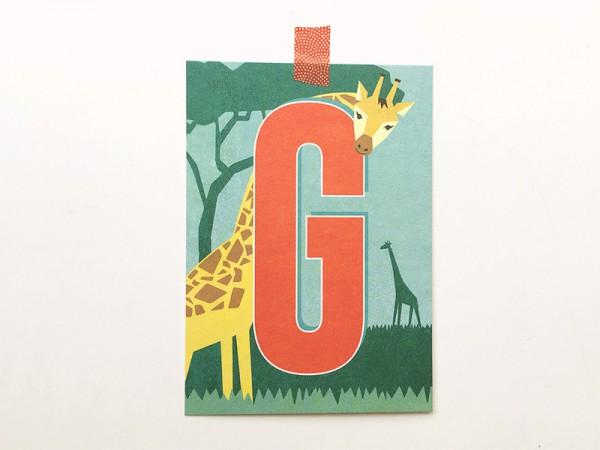 Postkarte Buchstabe G von Monimari