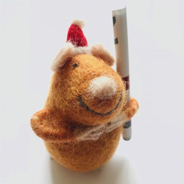Weihnachts Filzmaus braun für Geld oder Gutscheine