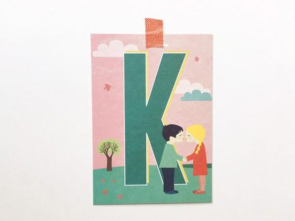 Postkarte Buchstabe K von Monimari