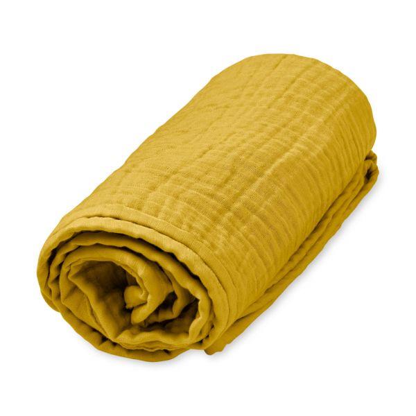 """Musselin Decke """"Mustard"""" senfgelb von Cam Cam"""