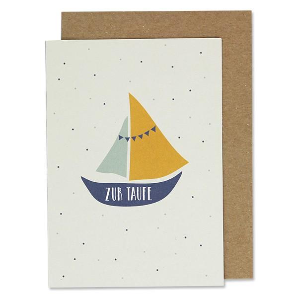 """Klappkarte zur Taufe """"Segelboot blau gelb"""" von Ava& Yves"""