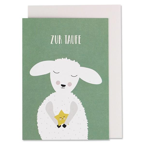 """Klappkarte """"Zur Taufe"""" Lamm grün von Ava & Yves"""