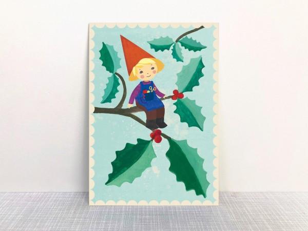 Weihnachtskarte Weihnachtswichtel von Monimari