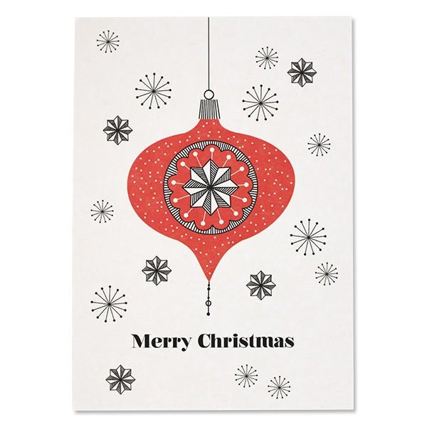 """Postkarte """"Frohe Weihnachten"""" Kugel rot von Ava & Yves"""