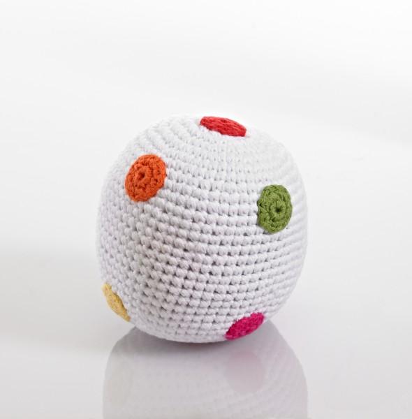 Rassel Ball weiß mit bunten Punkten von pebble