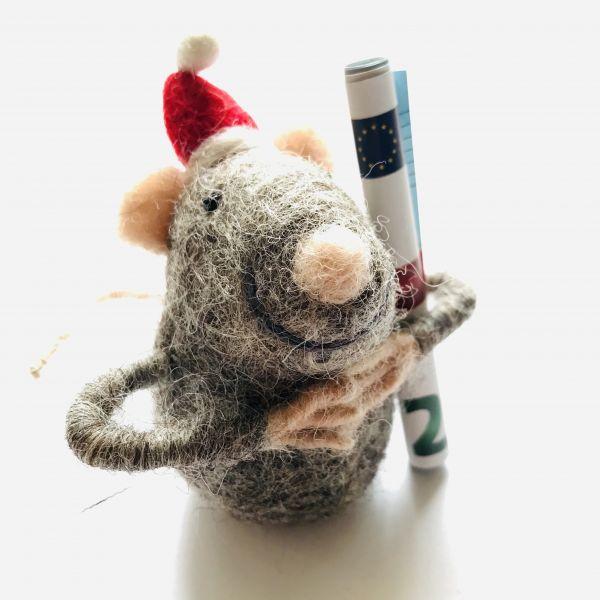 Weihnachts Filzmaus grau für Geld oder Gutscheine