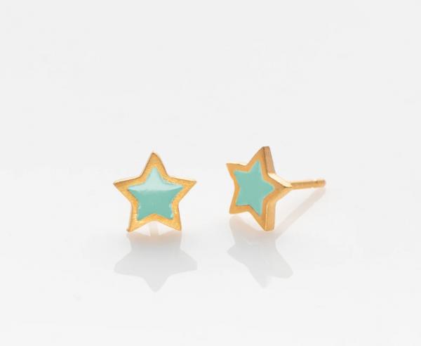 Stern Ohrringe golden/ türkis von Prigipo