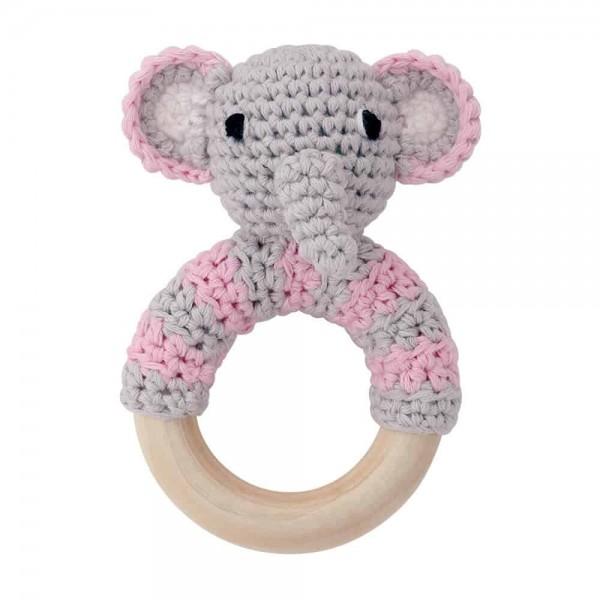Sindibaba Rassselring Elefant grau rosa