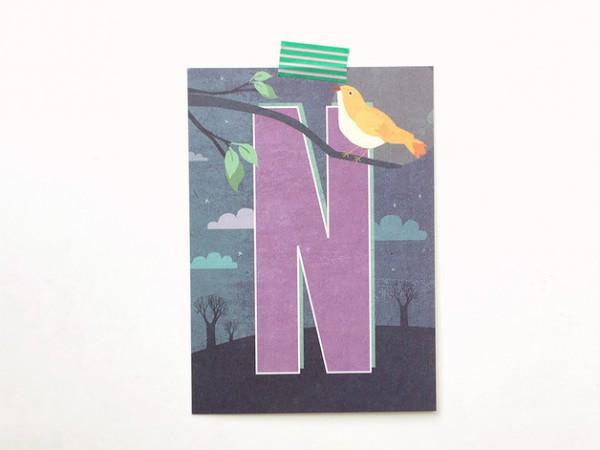 Postkarte Buchstabe N von Monimari