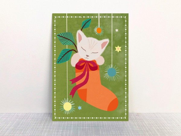 Weihnachtskarte Babykatze von Monimari