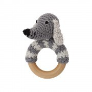 Sindibaba Rasselring Hund grau gehäkelt