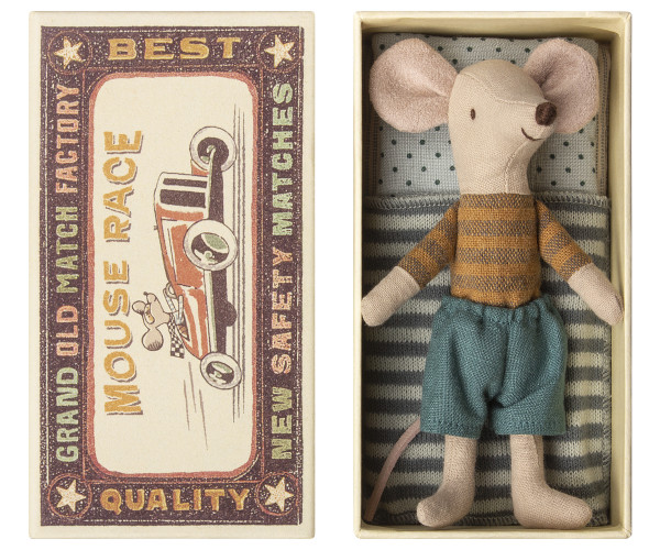 Big brother Mouse in box mit gestreifter Decke von Maileg