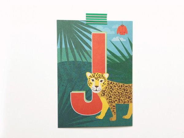 Postkarte Buchstabe J