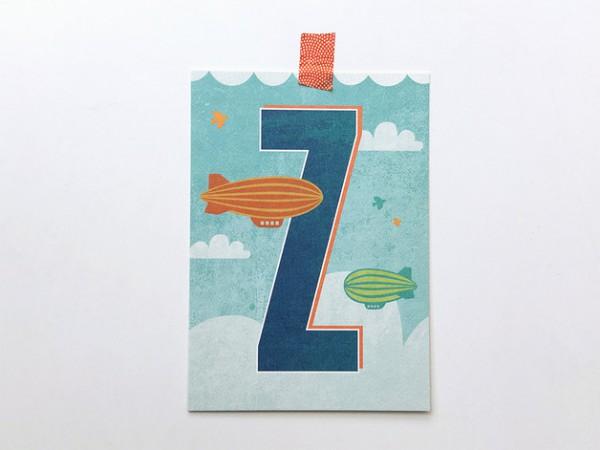 Postkarte Buchstabe Z von Monimari