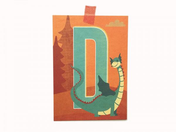 Postkarte Buchstabe D