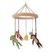 Sindibaba Baby Mobile Affen gehäkelt bunt