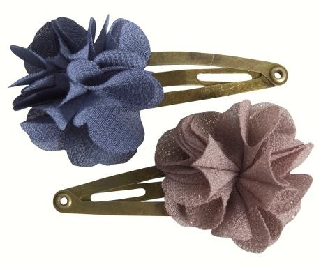Hair Clips Fluffy Flower Denim, 2 Stück