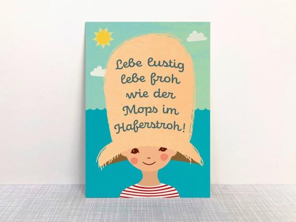 """Lebe lustig, lebe froh"" Postkarte aus Recyclingpapier mit Ökofarbe von Monimari"