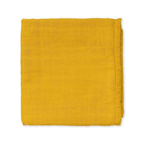 Mulltuch Musselin mustard- senfgelb 70x70 Cam Cam